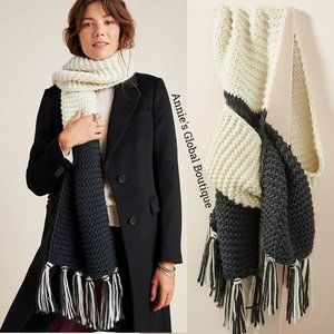 NWT ANTHROPOLOGIE Color Blocked Fringed Wrap Scarf